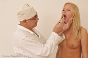 Timid blondie with nice body receives special extra treatment from dirty-minded gynecologist and his naughty but responsible nurse