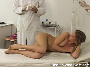 Graceful chestnut head daisy with desirable body receives an extra treatment from a gynecologist, who just can't resist her beauty
