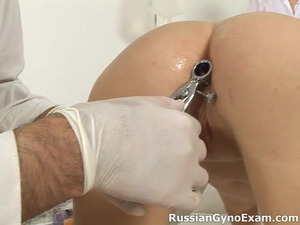 Touchy-feely brunette girl refuses to receive her gyno examinations and gets punished with some extra procedures by a tough doctor
